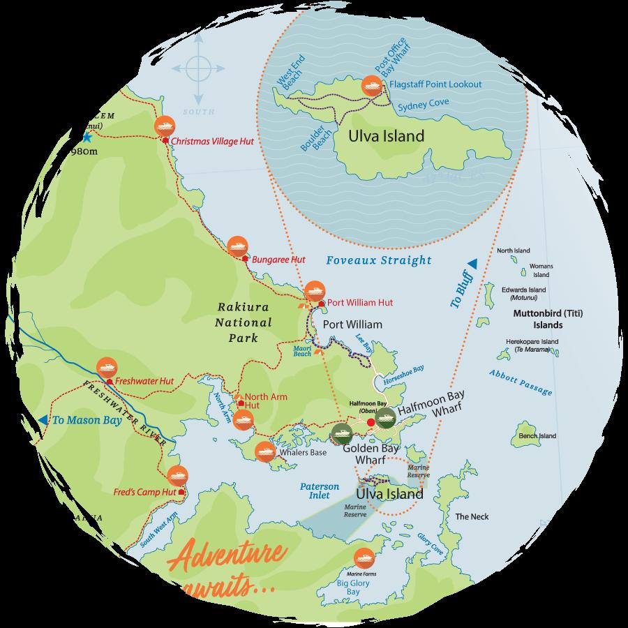 Map of Rakiura Stewart Island